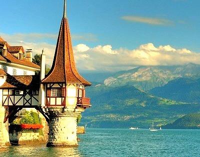 Oberhofen Castle and Thun Lake, Switzerland
